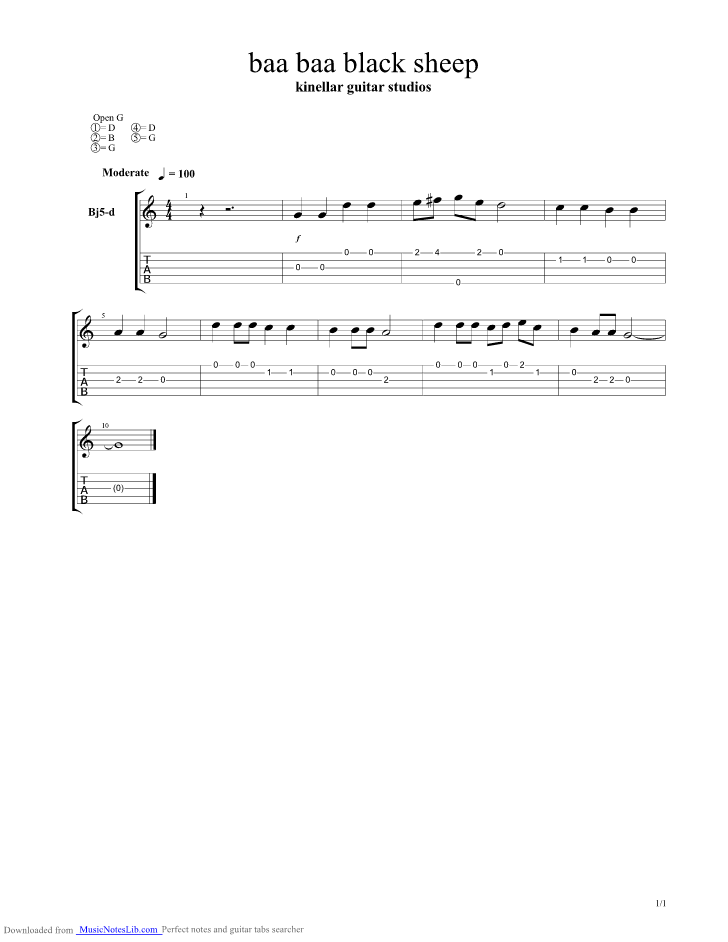 Baa Baa Black Sheep Banjo Guitar Pro Tab By Misc Children