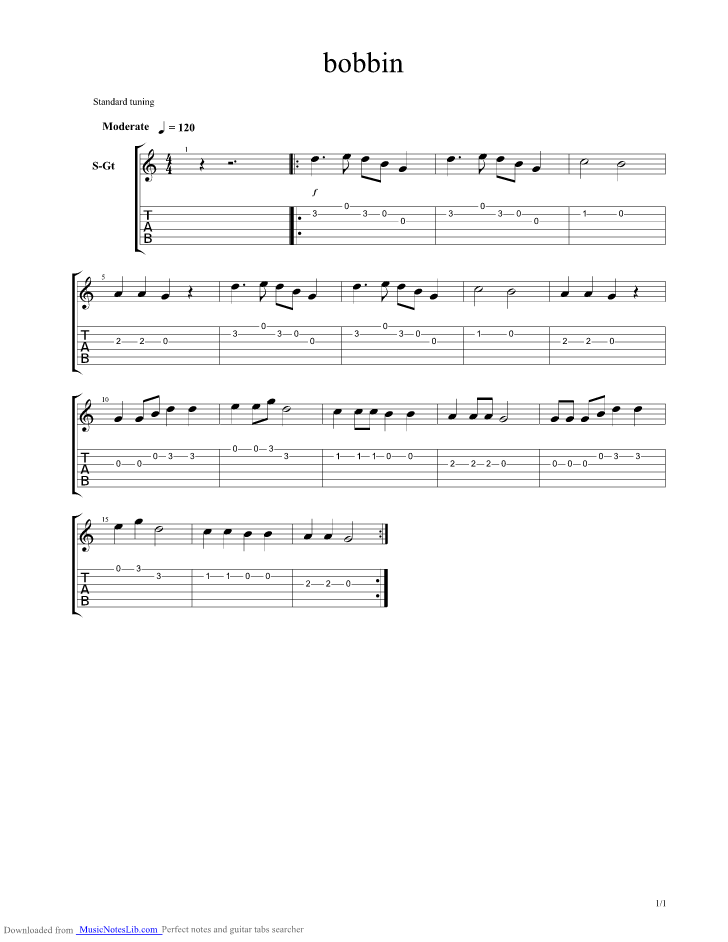 Wind The Bobbin Up guitar pro tab by Misc Children @ musicnoteslib.com