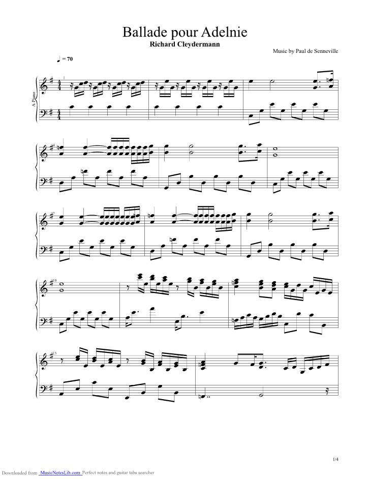 Ballade Pour Adeline guitar pro tab by Richard Clayderman ...