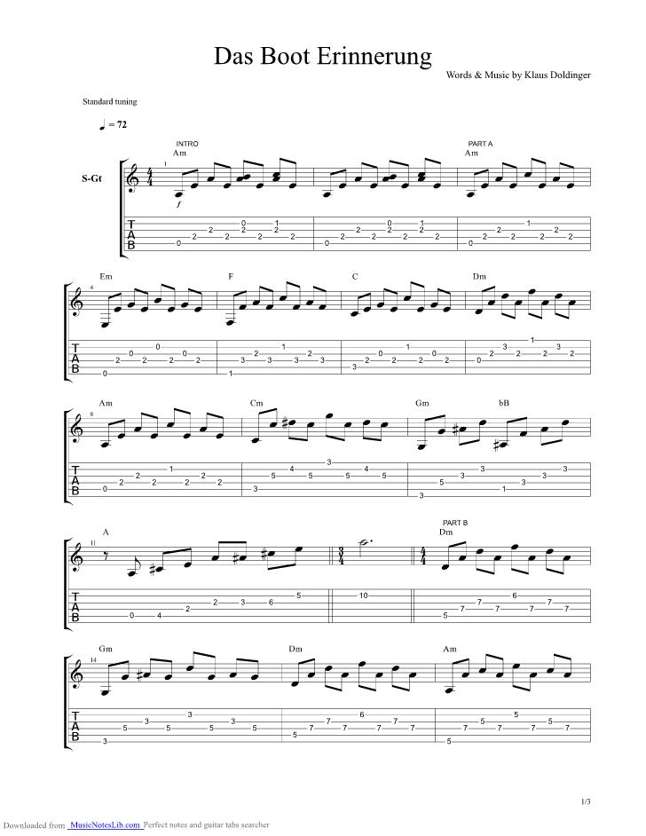 Das Boot Erinnerung guitar pro tab by Doldinger Klaus ...