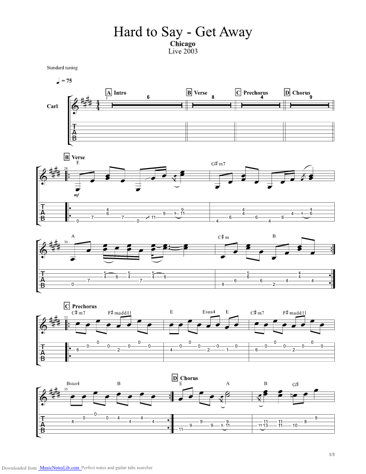 Hard To Say Im Sorry Get Away guitar pro tab by Chicago ...