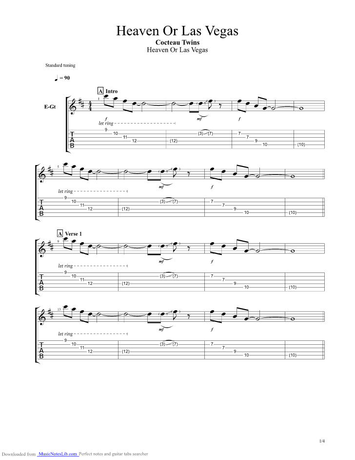Heaven Or Las Vegas guitar pro tab by Cocteau Twins @ musicnoteslib.com