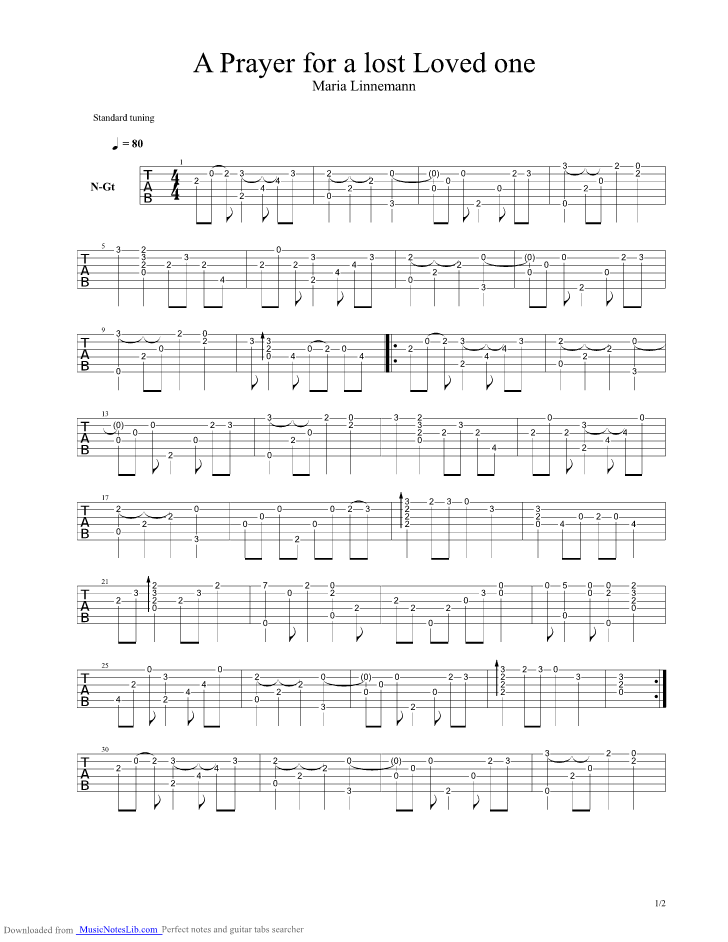 Prayer For A Lost Loved One guitar pro tab by Maria Linnemann ...