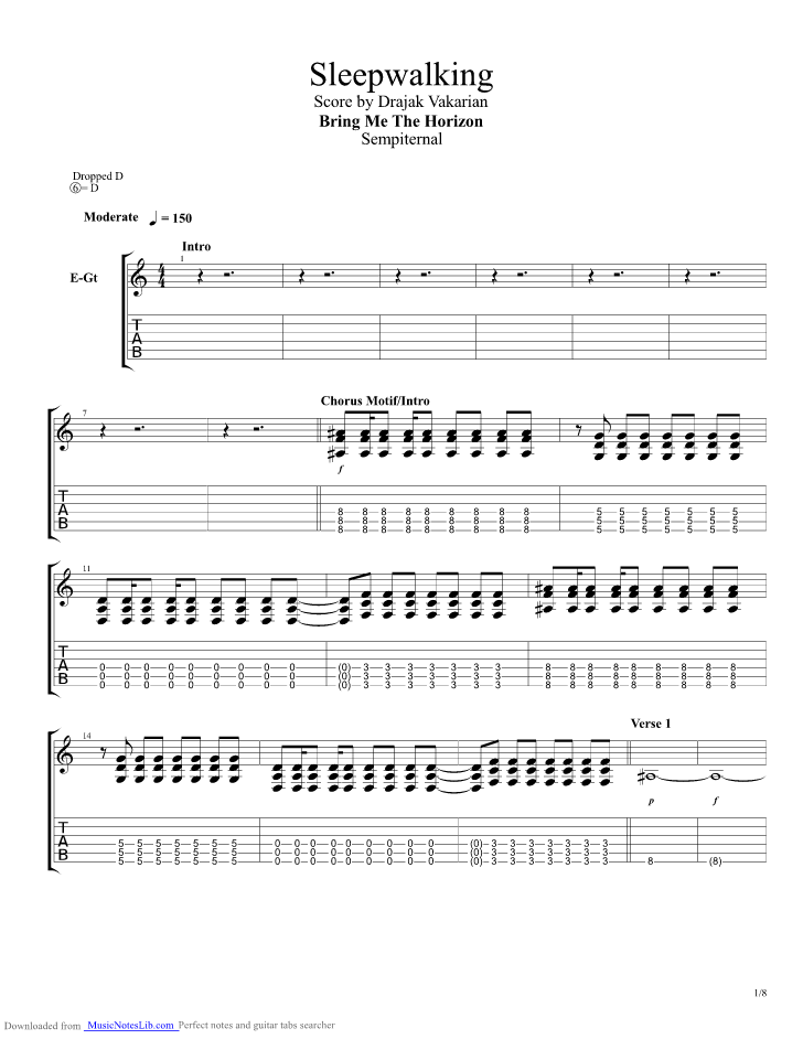 Sleepwalking guitar pro tab by Bring Me The Horizon @ musicnoteslib.com