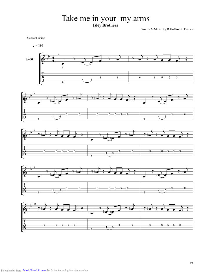 Take Me In Your Arms Guitar Pro Tab By Isley Brothers