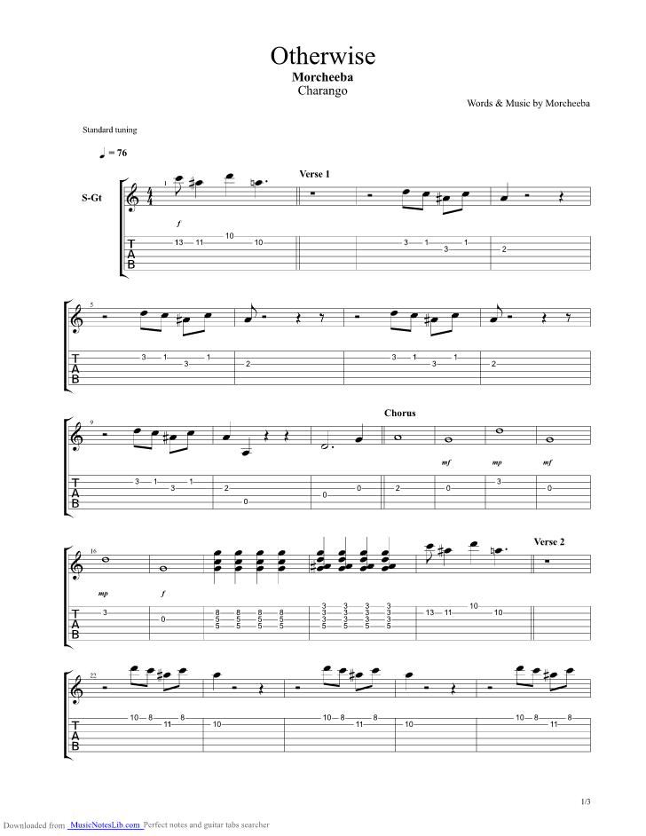 Otherwise Guitar Pro Tab By Morcheeba Musicnoteslib