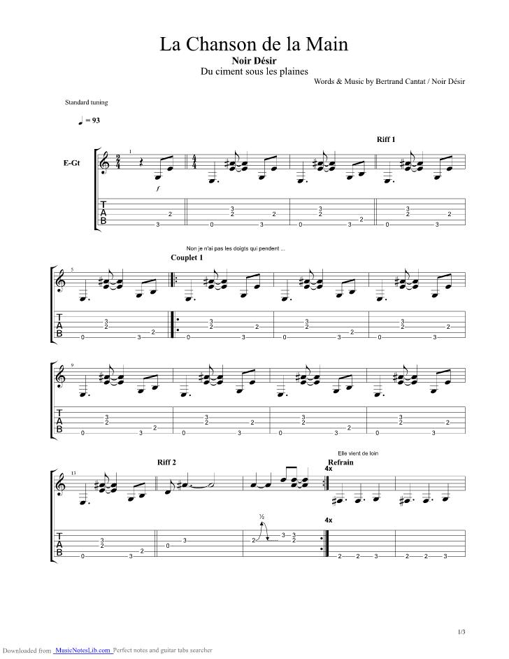 La Chanson De La Main Guitar Pro Tab By Noir Desir Musicnoteslib