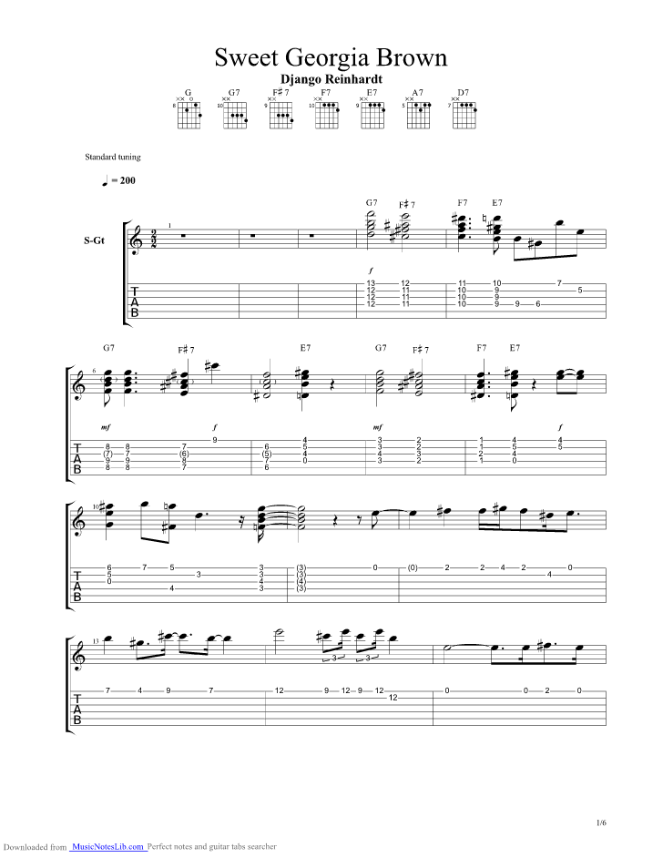 Sweet Georgia Brown Guitar Pro Tab By Django Reinhardt