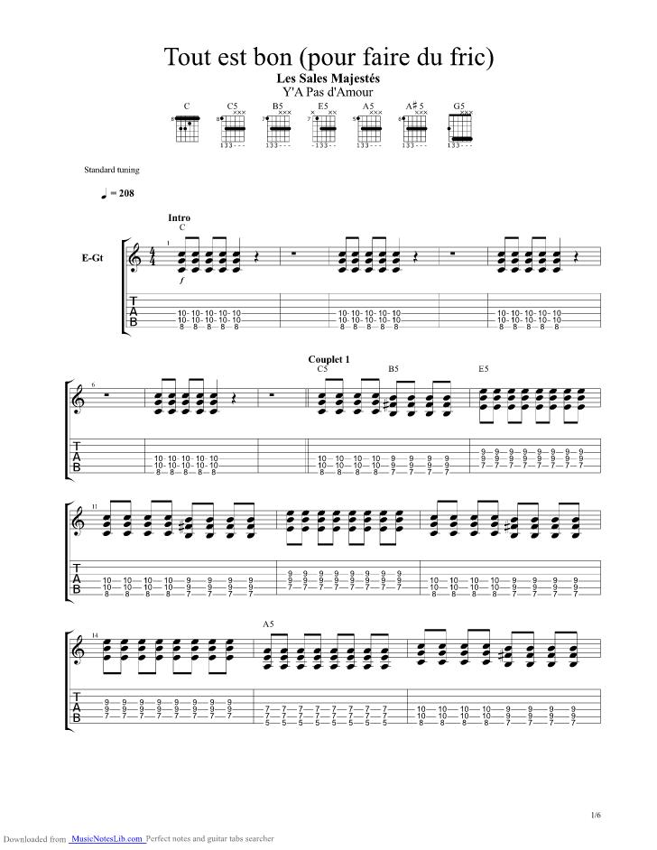 Tout Est Bon pour Faire Du Fric guitar pro tab by Sales ...