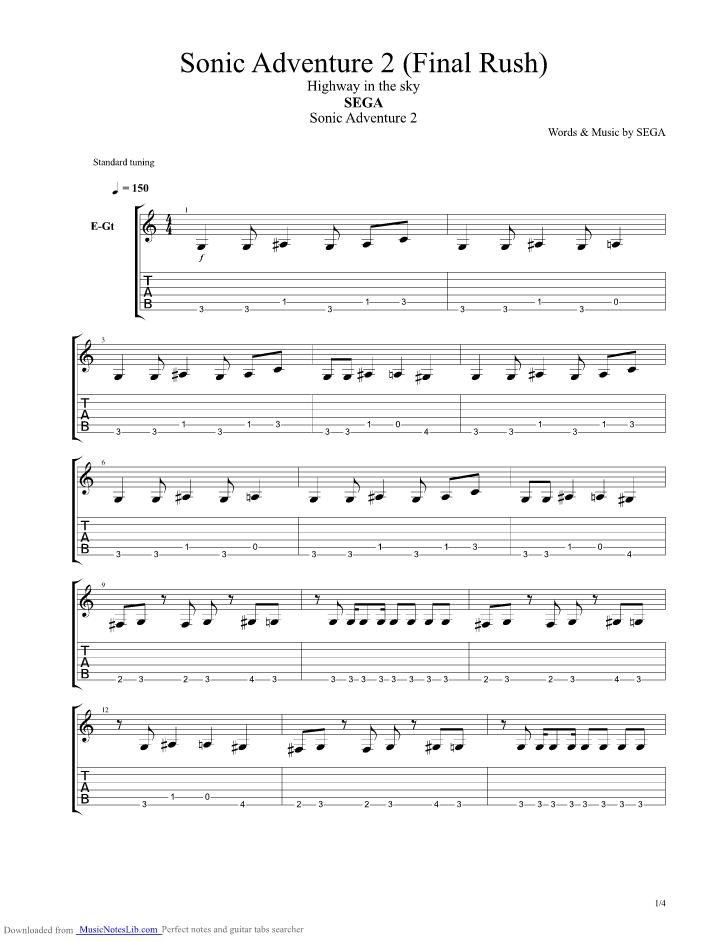 Sonic Adventure 2 Final Rush Guitar Pro Tab By Sonic The Hedgehog Sega Musicnoteslib Com