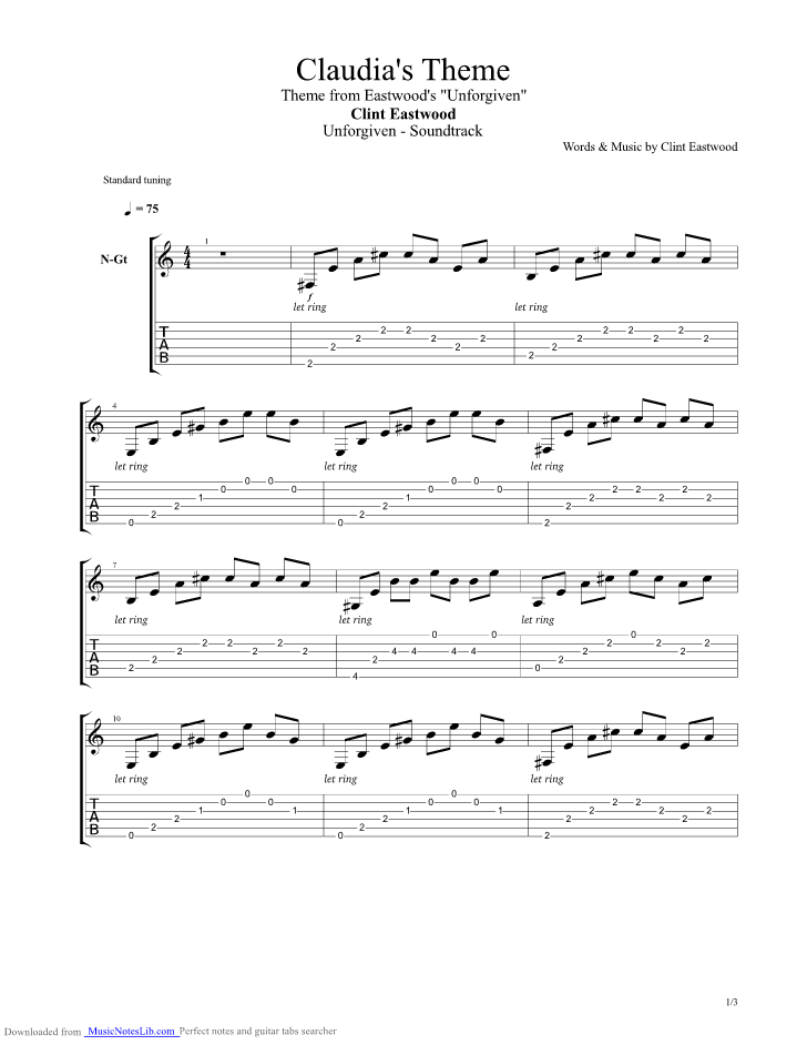 Claudias Theme Guitar Pro Tab By Unforgiven Musicnoteslib