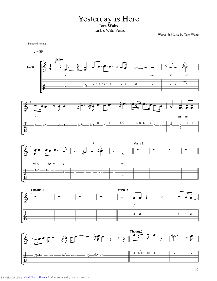 Yesterday Is Here guitar pro tab by Tom Waits @ musicnoteslib.com