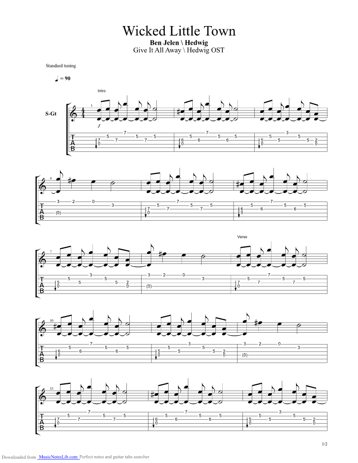 Wicked Little Town Partial Guitar Pro Tab By Ben Jelen