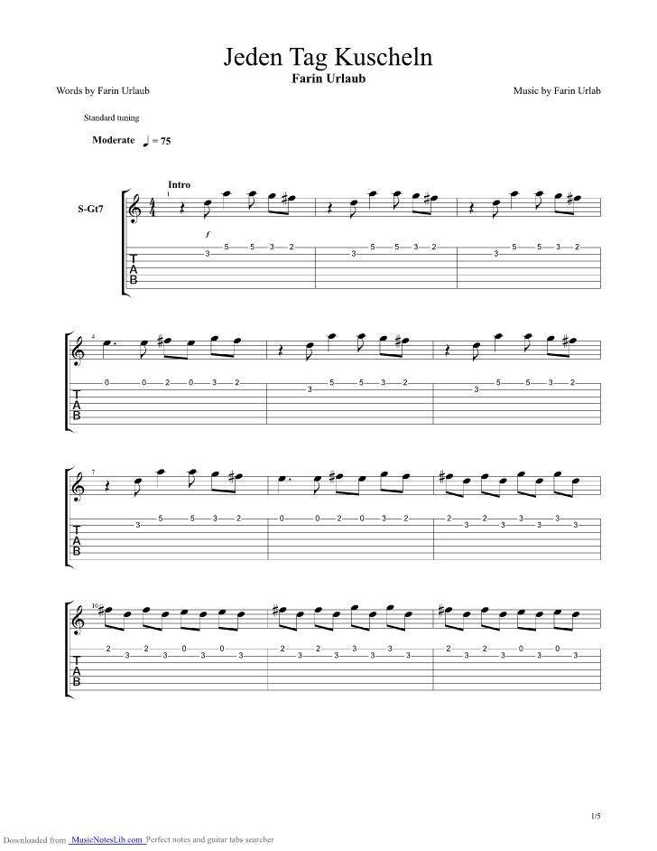 Die Dusche Farin Urlaub : Jeden Tag kuscheln guitar pro tab by Farin Urlaub @ musicnoteslib.com