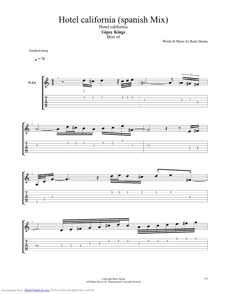 Hotel California Spanish Mix Guitar Pro Tab By Gypsy Kings