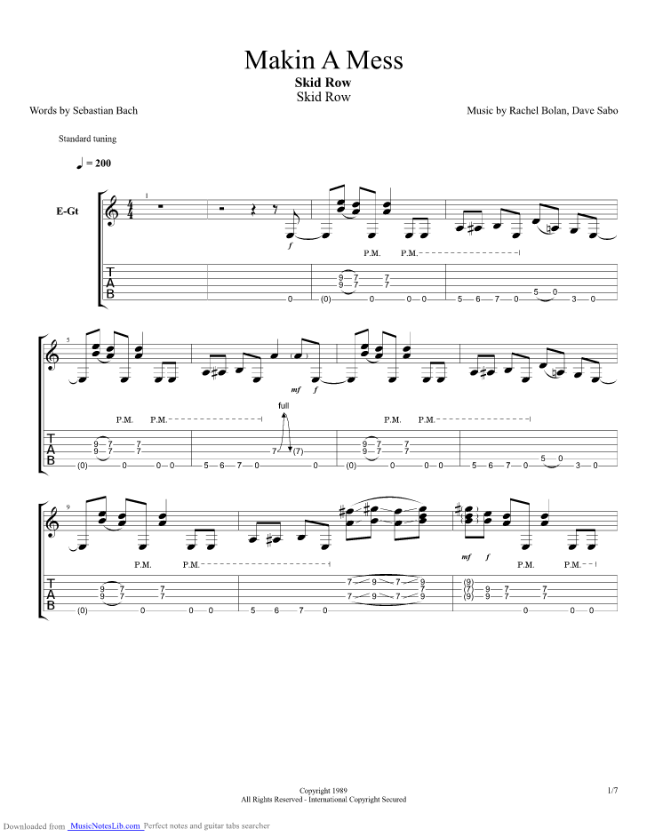 Makin A Mess Guitar Pro Tab By Skid Row Musicnoteslib