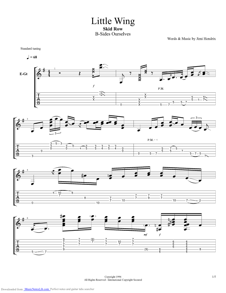 Little Wing guitar pro tab by Skid Row @ musicnoteslib.com