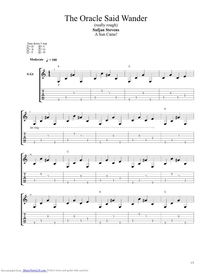 Oracle Said Wander Guitar Pro Tab By Sufjan Stevens Musicnoteslib
