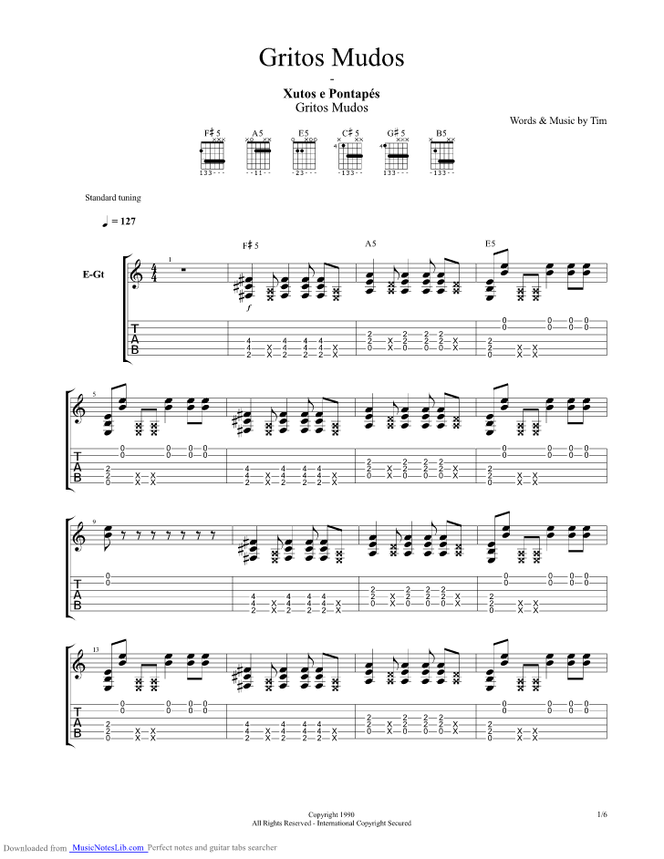 Gritos Mudos Guitar Pro Tab By Xutos E Pontapes Musicnoteslib