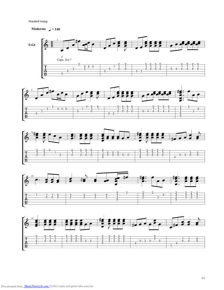 Life Is A Long Song guitar pro tab by Jethro Tull musicnoteslib