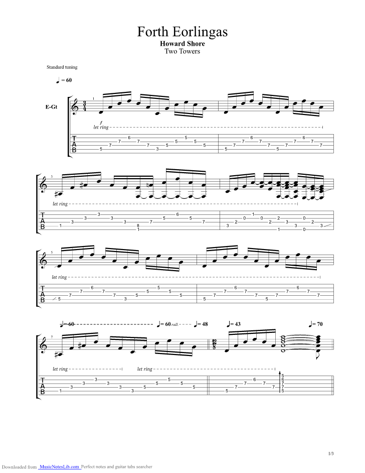 Forth Eorlingas Guitar Pro Tab By Lord Of The Rings Musicnoteslib
