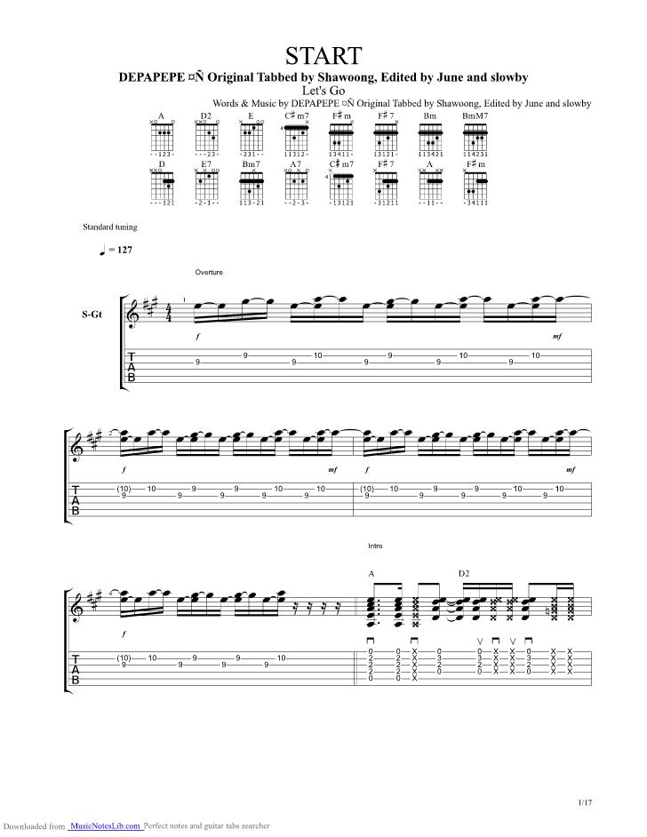 Start Guitar Pro Tab By Depapepe Musicnoteslib