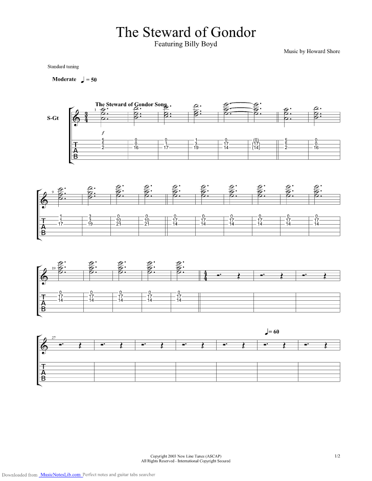 Steward Of Gondor Guitar Pro Tab By Lord Of The Rings