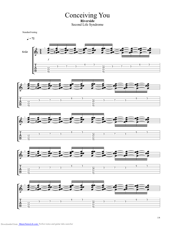 Conceiving You Guitar Pro Tab By Riverside Musicnoteslib