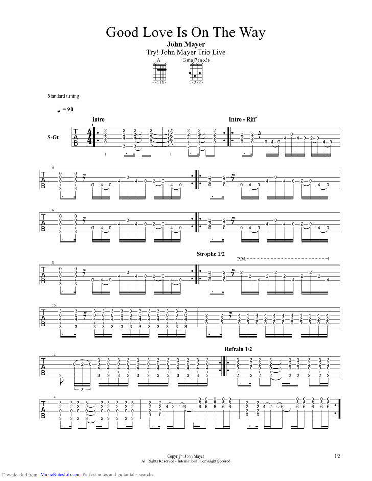Good Love Is On The Way Guitar Pro Tab By John Mayer Musicnoteslib