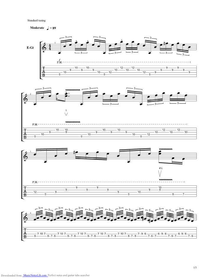 Dirty Fingers Guitar Pro Tab By Gary Moore Musicnoteslib