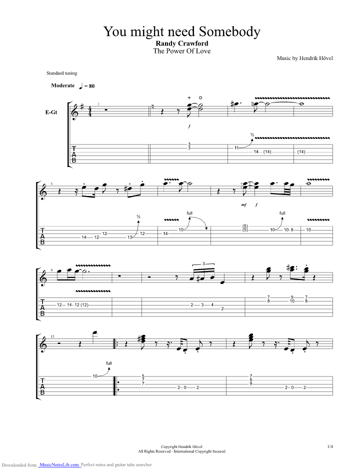 You Might Need Somebody Guitar Pro Tab By Randy Crawford