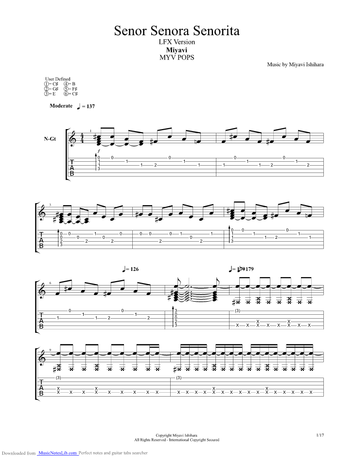 Senor Senora Senorita Guitar Pro Tab By Miyavi Musicnoteslib