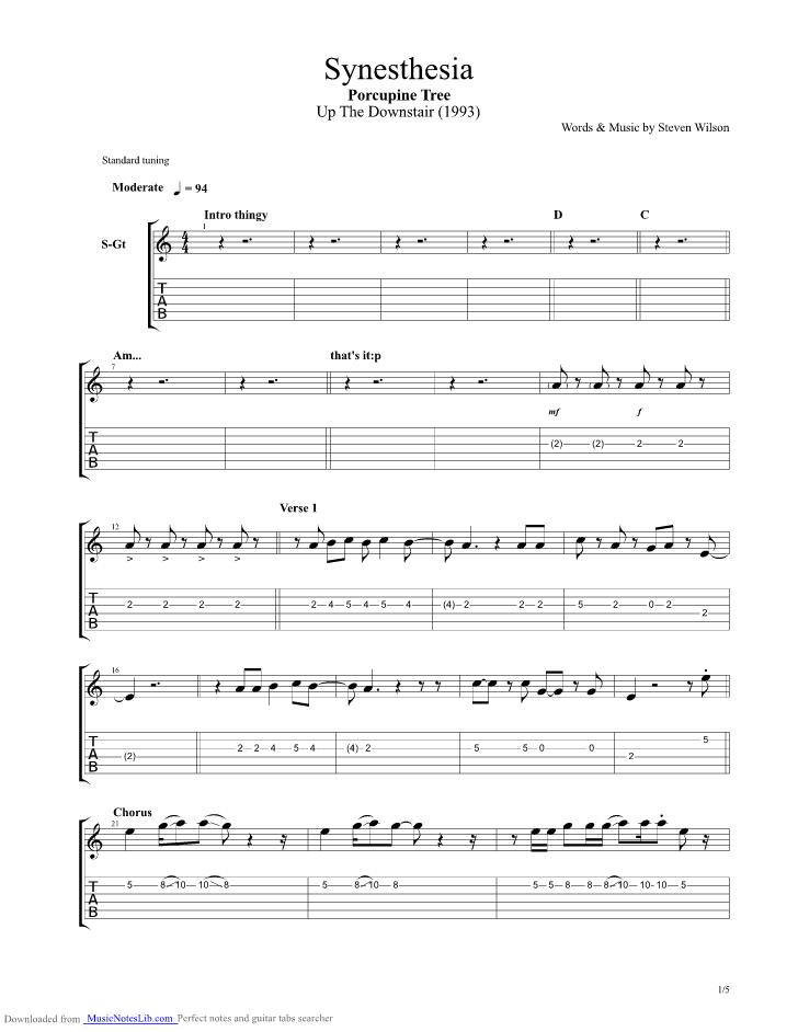 Synesthesia guitar pro tab by Porcupine Tree @ musicnoteslib.com
