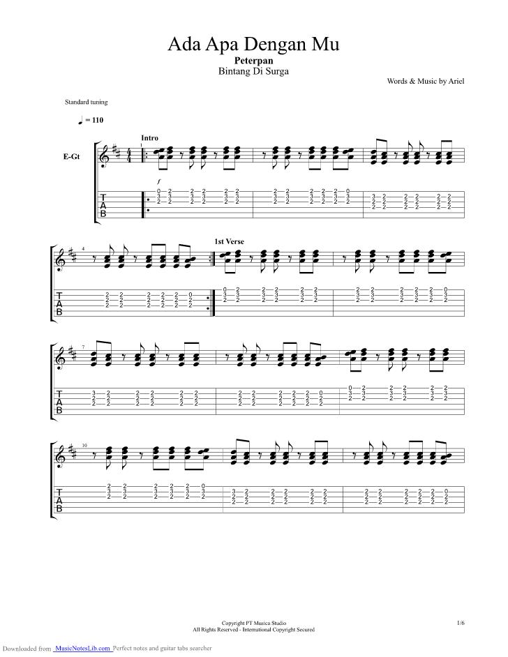 Ada Apa Denganmu Guitar Pro Tab By Peterpan Musicnoteslib