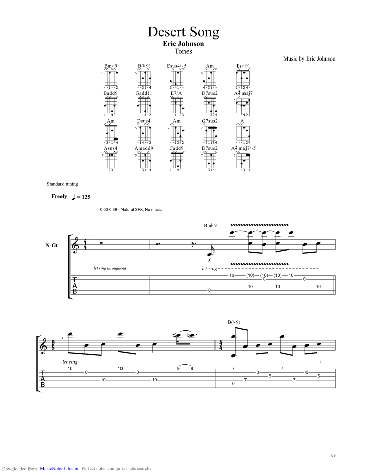 Desert Song guitar pro tab by Eric Johnson @ musicnoteslib.com