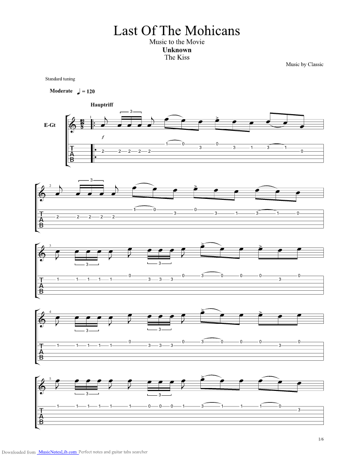 Last Of The Mohicans The Kiss guitar pro tab by Clannad