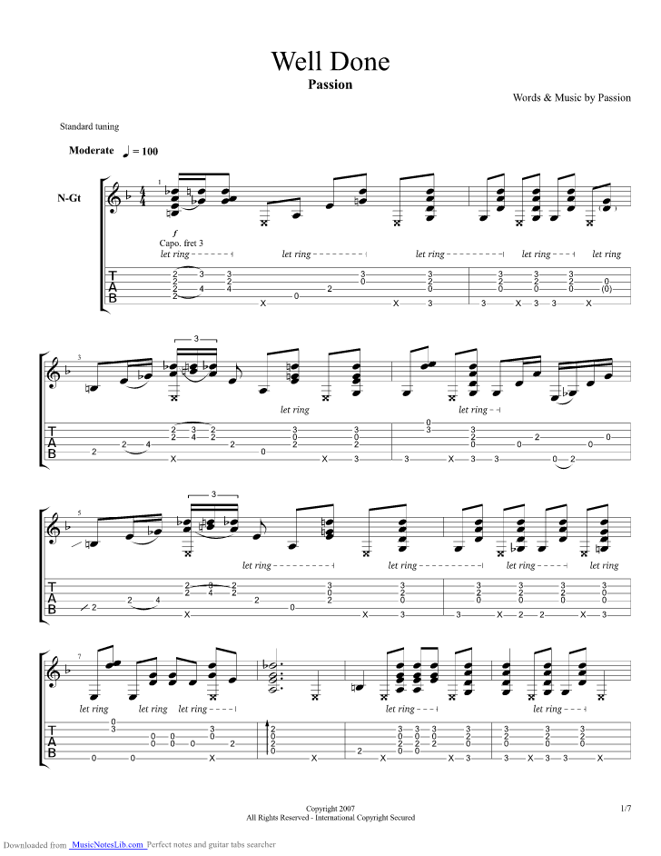 Well Done Guitar Pro Tab By Passion Musicnoteslib