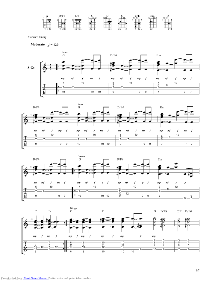 When I Dream About You guitar pro tab by Stevie B @ musicnoteslib.com