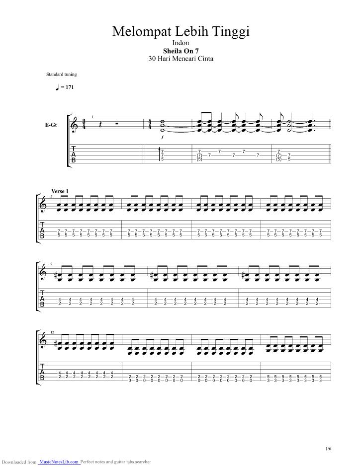 Pupus guitar pro tab by Dewa @ musicnoteslib.com