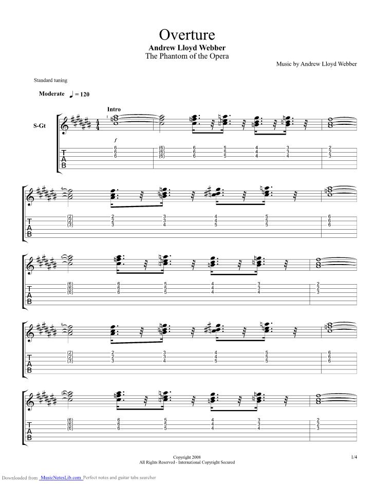 Overture guitar pro tab by Jesus Christ Superstar @ musicnoteslib.com