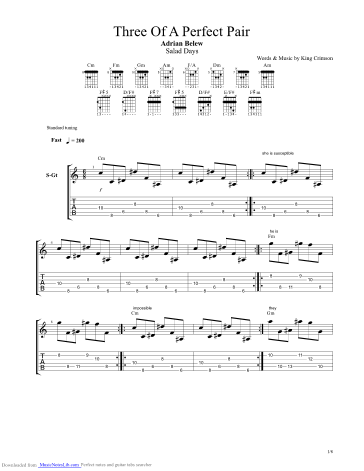 Three of a Perfect Pair guitar pro tab by Adrian Belew ...