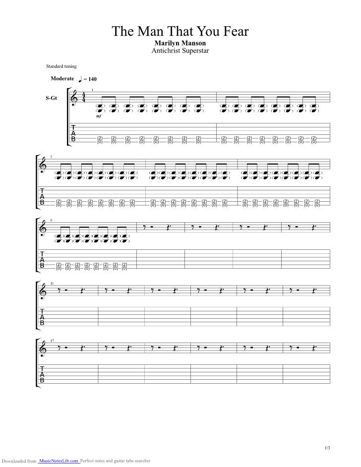 Man That You Fear Guitar Pro Tab By Marilyn Manson Musicnoteslib
