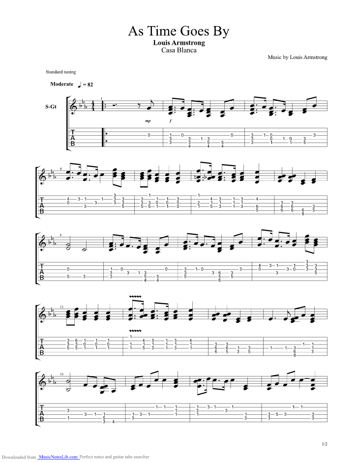 As Time Goes By guitar pro tab by Louis Armstrong @ musicnoteslib.com