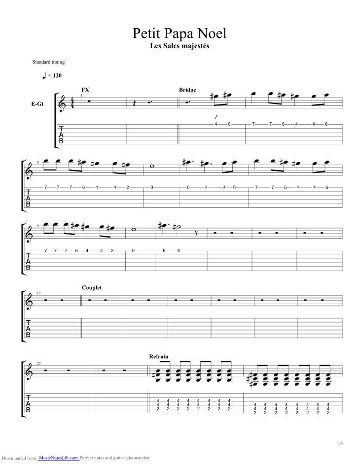Petit Papa Noel Guitar Pro Tab By Les Sales Majestes At Musicnoteslibcom