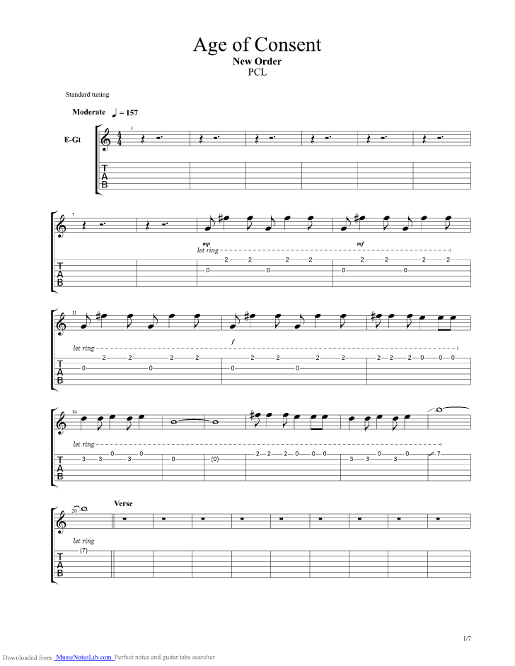 Age Of Consent Guitar Pro Tab By New Order Musicnoteslib
