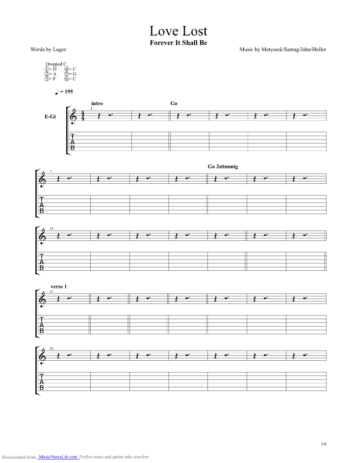 love lost guitar pro tab by forever it shall be