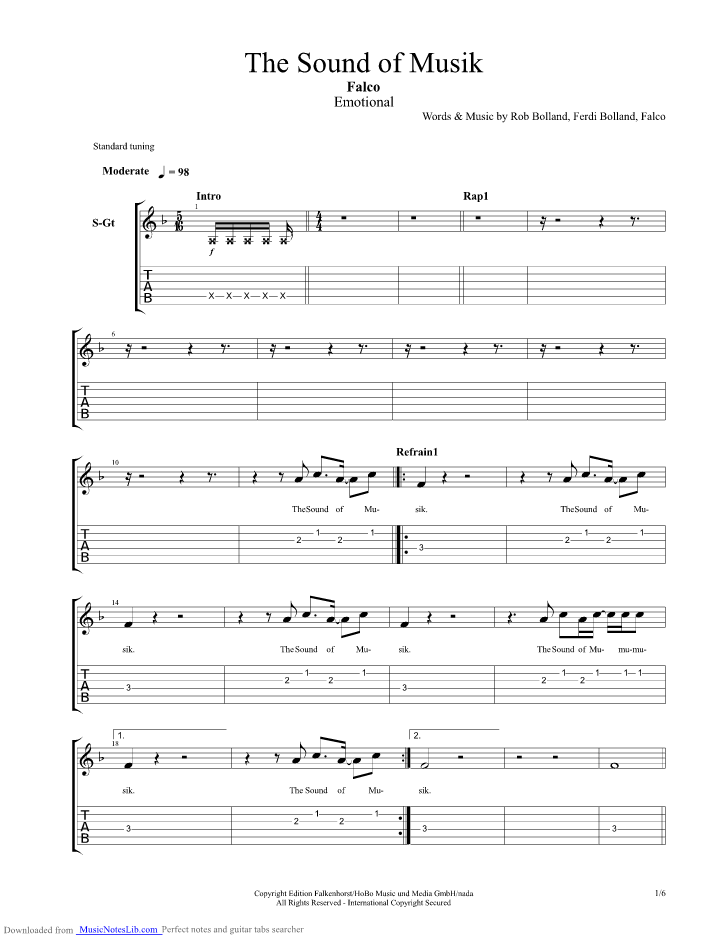 The Sound Of Musik Guitar Pro Tab By Falco Musicnoteslib