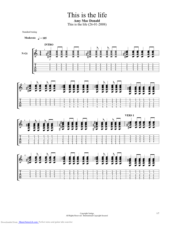 This is the life guitar pro tab by Amy Macdonald @ musicnoteslib.com