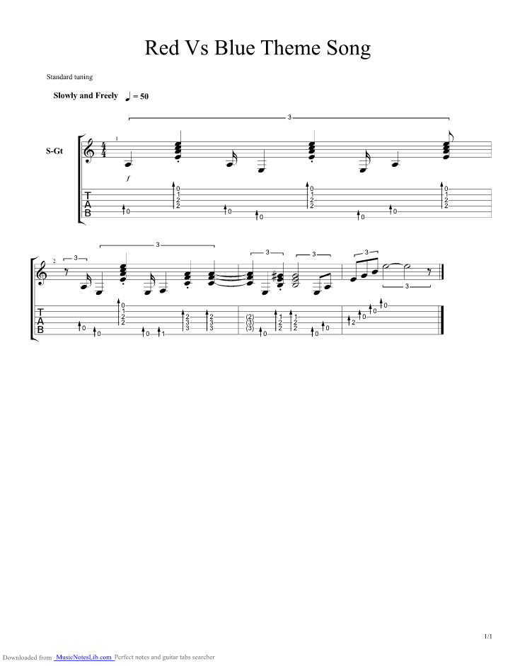 Red Vs Blue Guitar Pro Tab By Misc Musicnoteslib