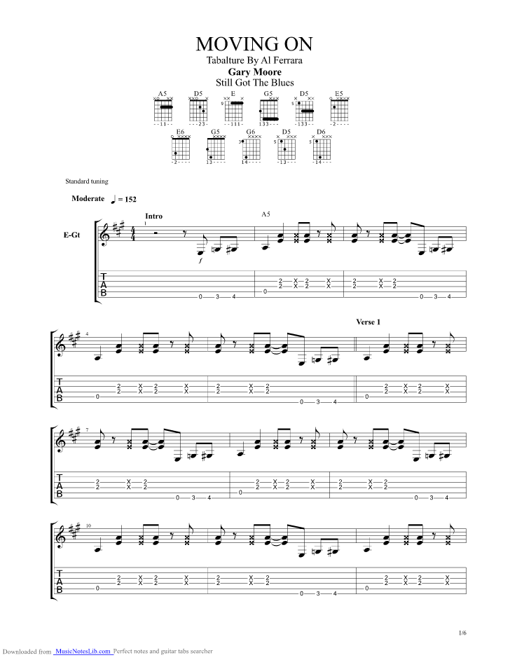 Moving On guitar pro tab by Gary Moore @ musicnoteslib.com